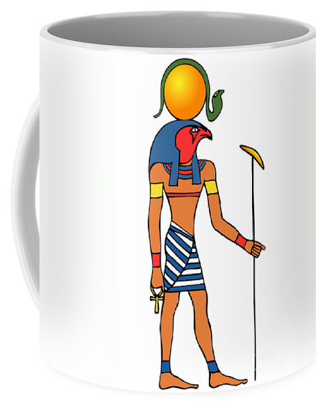 Image Coffee Mug featuring the drawing Egyptian God Of The Sun - Ra by Michal Boubin