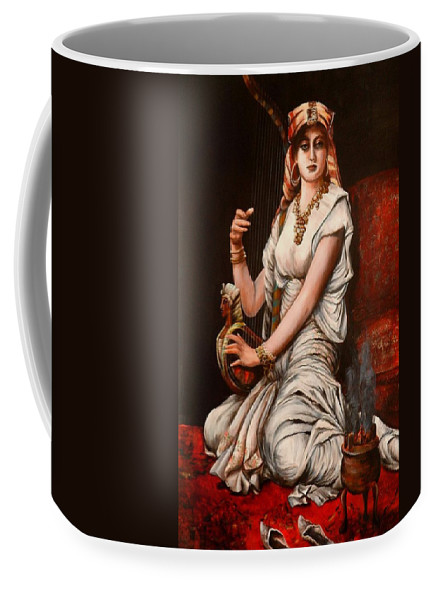 Portrait Of Women Coffee Mug featuring the painting Egyptian Lady With Harp by Patricia Rachidi
