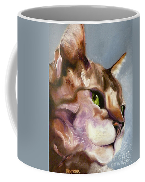 Cat Coffee Mug featuring the painting Egyptian Mau Princess by Susan A Becker