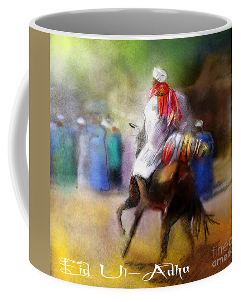 Eid Ul Adha Sheep Painting Festival Of Sacrifice Horses Knight Coffee Mug featuring the painting Eid Ul Adha Festivities by Miki De Goodaboom