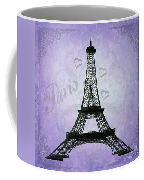 Eiffel Tower Coffee Mug featuring the photograph Eiffel Tower Collage Purple by Jim And Emily Bush