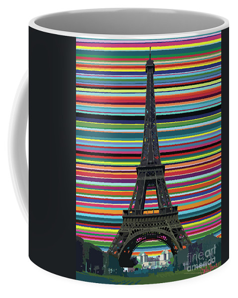 Eiffel Tower Coffee Mug featuring the painting Eiffel Tower With Lines by Carla Bank