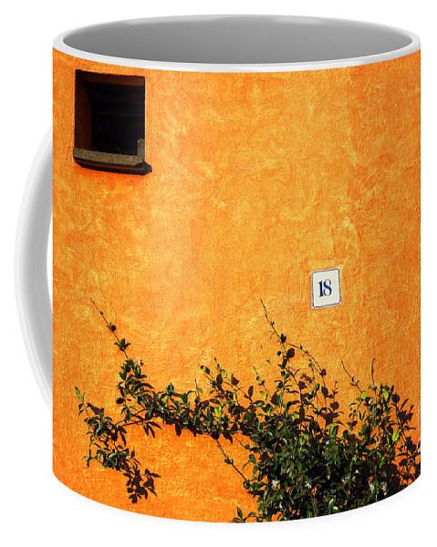 Numbers Coffee Mug featuring the photograph Eighteen On Orange Wall by Silvia Ganora
