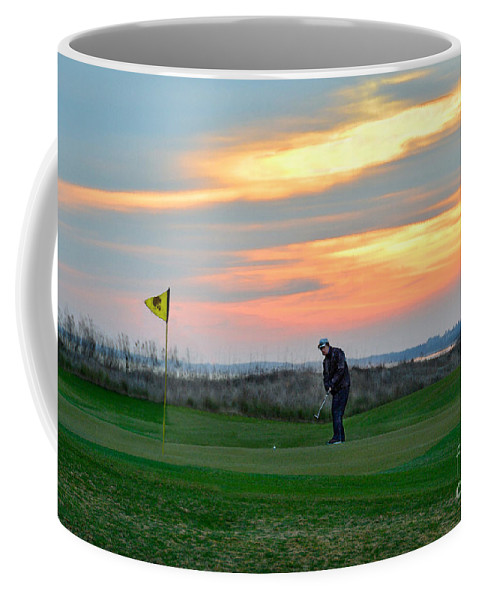 Golf Course Coffee Mug featuring the photograph Eighteenth Green At Sunset by Catherine Sherman