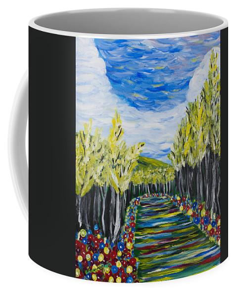 Acrylic Coffee Mug featuring the painting El Camino - Primavera - The Path - Spring by Candelario Cervantez