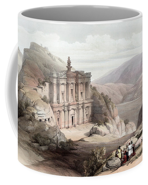 Petra Coffee Mug featuring the photograph El Deir Petra 1839 by Munir Alawi