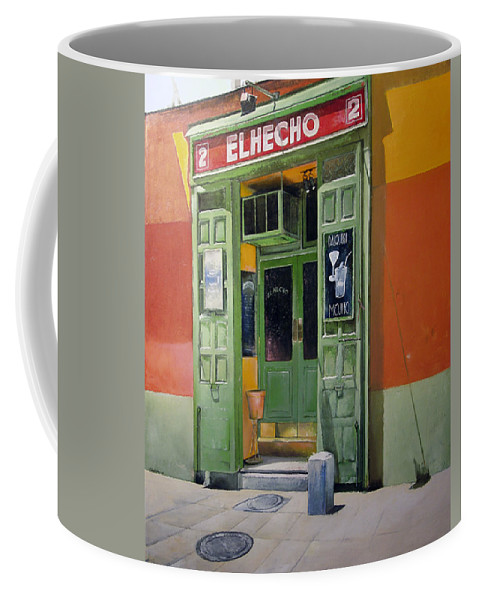 Hecho Coffee Mug featuring the painting El Hecho Pub by Tomas Castano