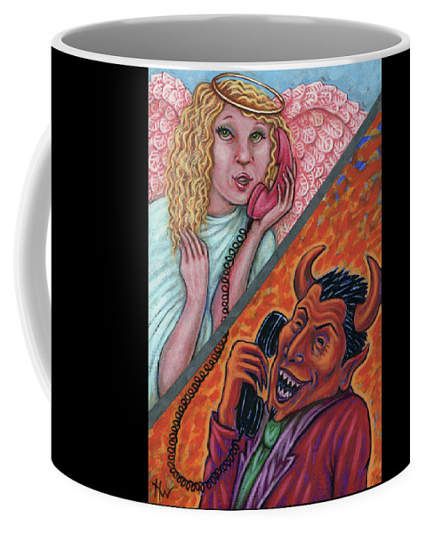 Angel Coffee Mug featuring the painting El Telefono by Holly Wood