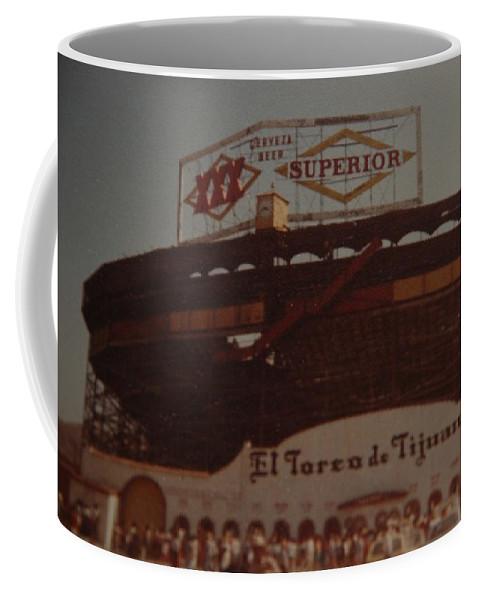Tijuana Mexico Coffee Mug featuring the photograph El Toreo De Tijuana by Rob Hans