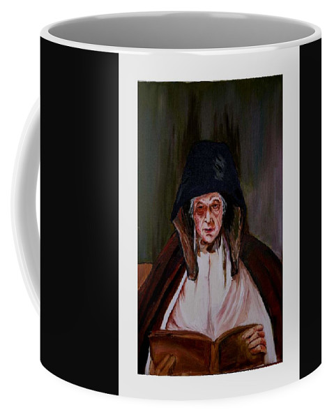 Old Lady Coffee Mug featuring the painting Elderly Lady Reading A Book by Asha Sudhaker Shenoy