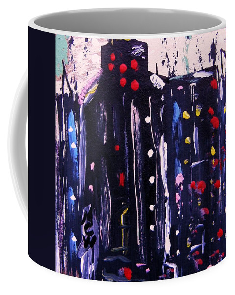 Lights Coffee Mug featuring the painting Electric Company by Mary Carol Williams