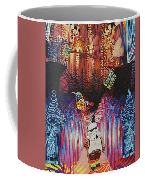 Electric Forest Coffee Mug featuring the drawing Electric Forest-people Building Houses In The Trees by Joshua Morton