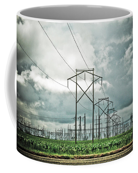 Electric Coffee Mug featuring the photograph Electric Lines And Weather by Marilyn Hunt