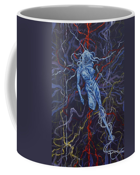 Pain Coffee Mug featuring the painting Electric Pain by Judy Henninger