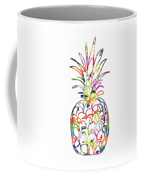 Pineapple Coffee Mug featuring the digital art Electric Pineapple - Art by Linda Woods by Linda Woods