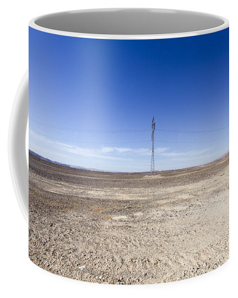 Connection Coffee Mug featuring the photograph Electricity Pylon In Desert by Gal Eitan