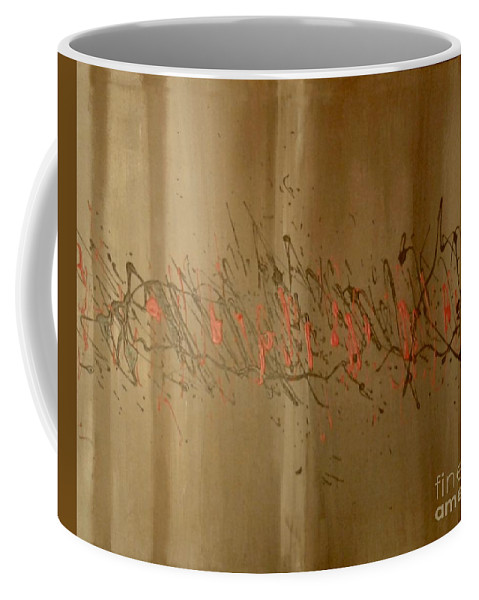 Wood Red Abstract Elegance Brown Coffee Mug featuring the painting Elegance by Cliff Weatherspoon