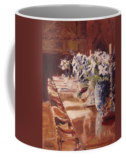 Vases Coffee Mug featuring the painting Elegant Dining At Hearst Castle by Barbara Andolsek