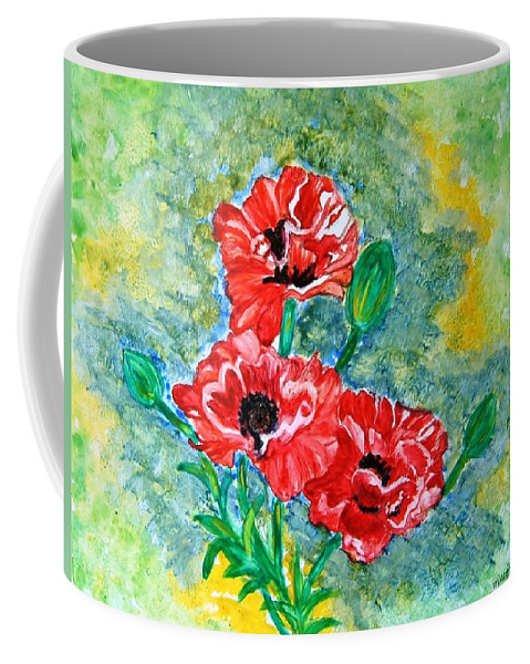Poppies Flowers Red Yellow Green Blue Acrylic Watercolor Yupo Elegant Landscape Coffee Mug featuring the painting Elegant Poppies by Manjiri Kanvinde
