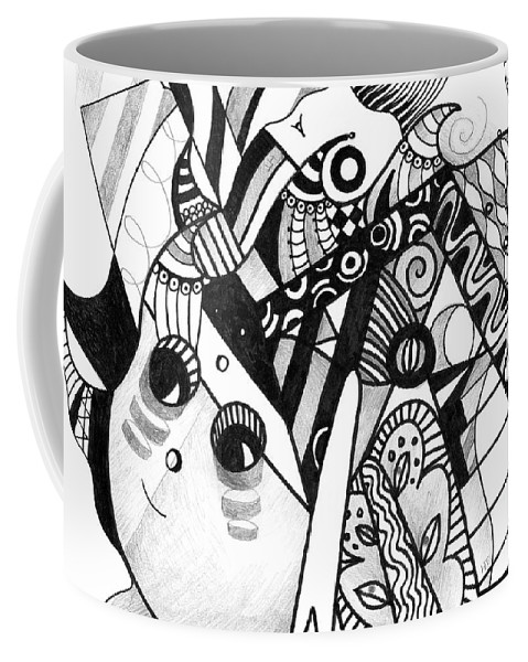 Abstract Coffee Mug featuring the drawing Elements At Play by Helena Tiainen