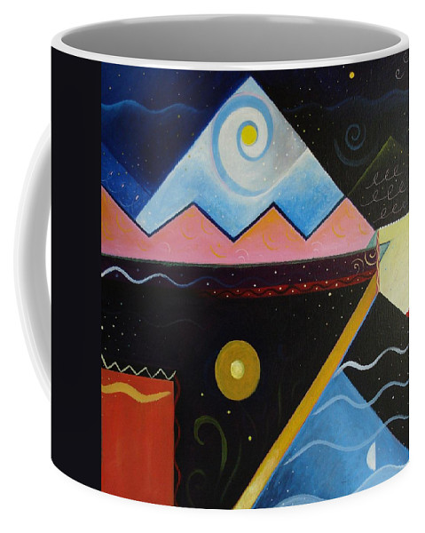 Dark Versus Light Coffee Mug featuring the painting Elements Of Light by Helena Tiainen