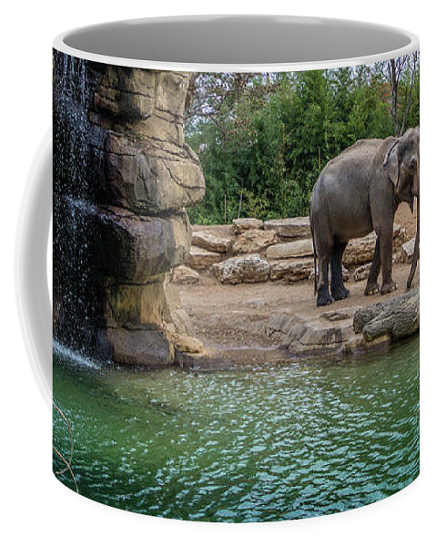 Elephant Coffee Mug featuring the photograph Elephant And Waterfall by Steven Jones