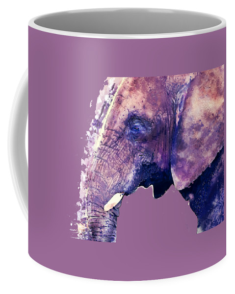 Elephant Coffee Mug featuring the painting Elephant Watercolor Painting by Justyna JBJart