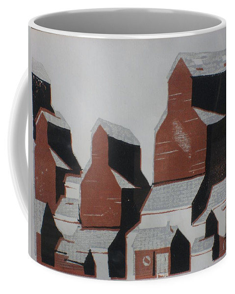 Woodcut Coffee Mug featuring the painting Elevator by Rodger Ellingson