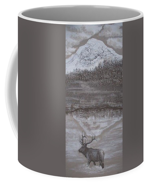 Elk Coffee Mug featuring the sculpture Elk Crossing The Refuge by Lorraine Gould-Zoller