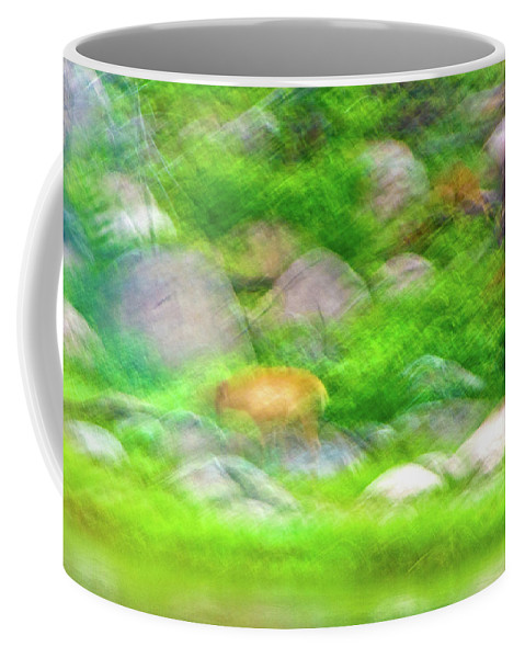 Travel Coffee Mug featuring the photograph Elk In The Rocks by Ches Black