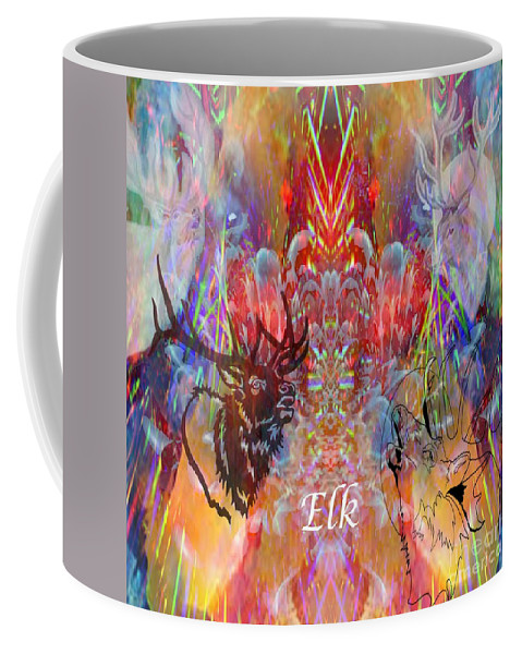 Elk Coffee Mug featuring the digital art Elk Moon by Rich Baker