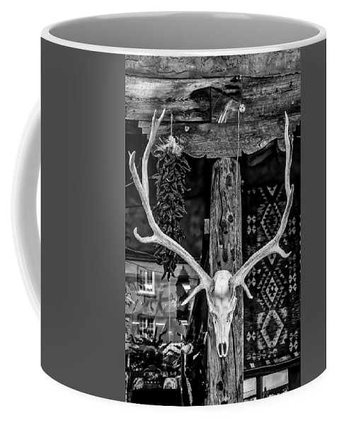 Elk Coffee Mug featuring the photograph Elk Skull In Black And White by Garry Gay