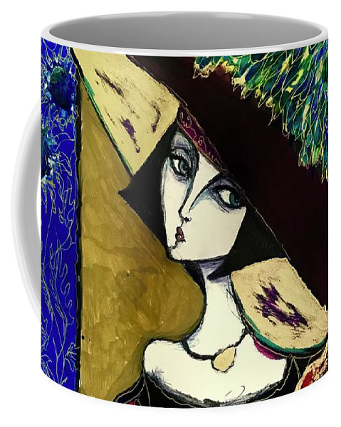 Lady Coffee Mug featuring the painting Velvet Hat by Rae Chichilnitsky