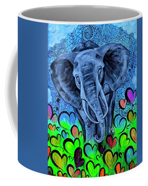 Elephant Coffee Mug featuring the painting Elley by Artist RiA
