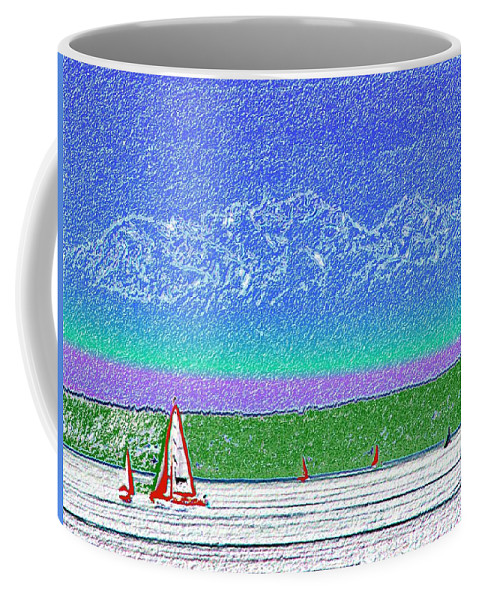 Seattle Coffee Mug featuring the digital art Elliott Bay Sail by Tim Allen