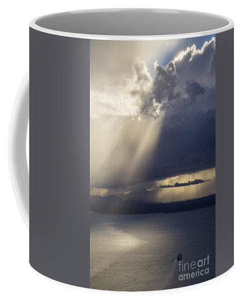 Seattle Coffee Mug featuring the photograph Elliott Bay Storm Clouds Ferry by Mike Reid