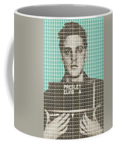 Elvis Coffee Mug featuring the painting Elvis Army Mug Shot - Blue by Gary Hogben