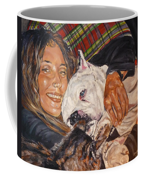 Pet Coffee Mug featuring the painting Elvis And Friend by Bryan Bustard