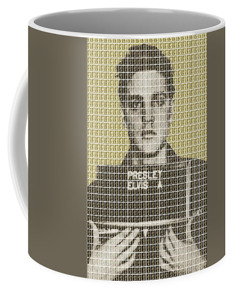 Elvis Coffee Mug featuring the painting Elvis Army Mug Shot - Gold by Gary Hogben