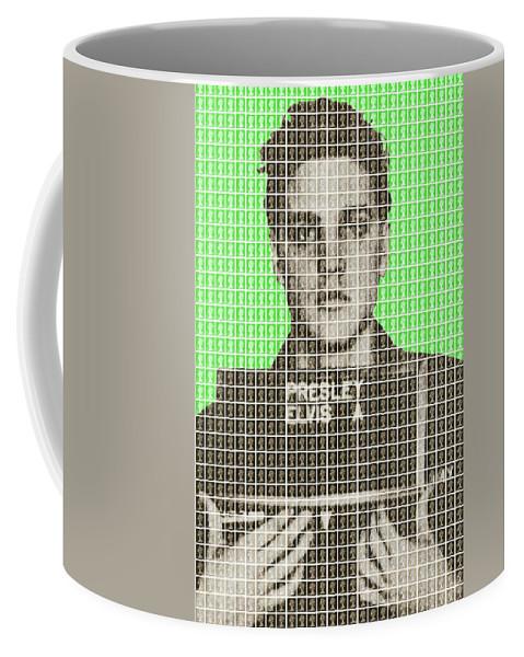 Elvis Coffee Mug featuring the painting Elvis Army Mug Shot - Green by Gary Hogben