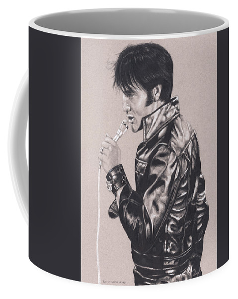 Elvis Coffee Mug featuring the drawing Elvis In Charcoal #177, No Title by Rob De Vries