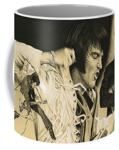 Elvis Coffee Mug featuring the drawing Elvis In Charcoal #183, No Title by Rob De Vries
