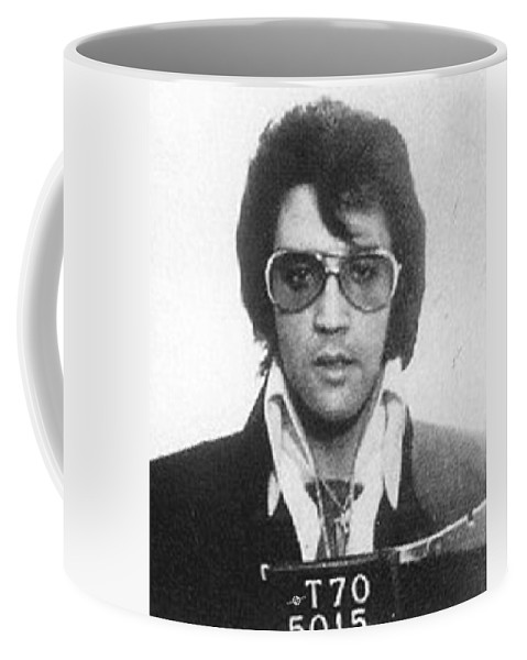 Elvis Presley Coffee Mug featuring the painting Elvis Presley Mug Shot Vertical by Tony Rubino
