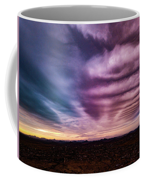 Drone Photography Coffee Mug featuring the photograph Embers Of A Fading Sunset by David Stevens