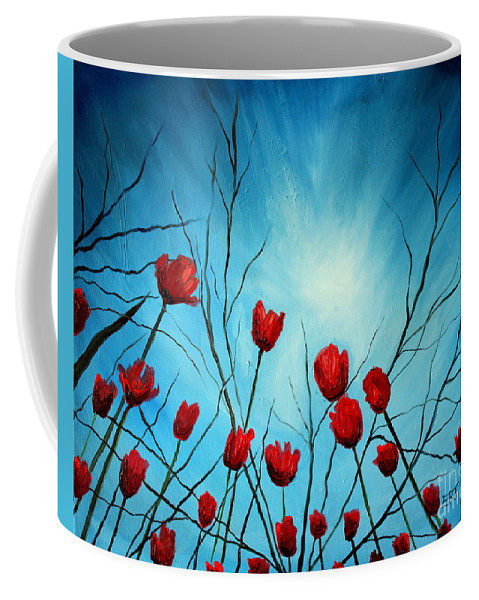 Tulips Coffee Mug featuring the painting Embrace by Elizabeth Robinette Tyndall