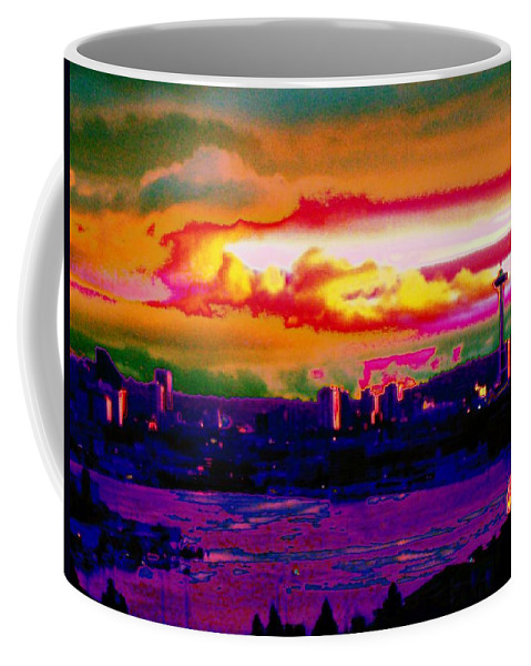 Seattle Coffee Mug featuring the photograph Emerald City Sunset by Tim Allen