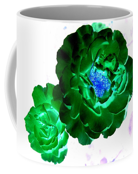 Rose Coffee Mug featuring the digital art Emerald Rose by Will Borden