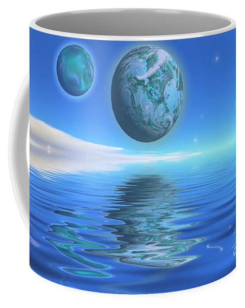 Space Art Coffee Mug featuring the painting Emeraldo by Corey Ford