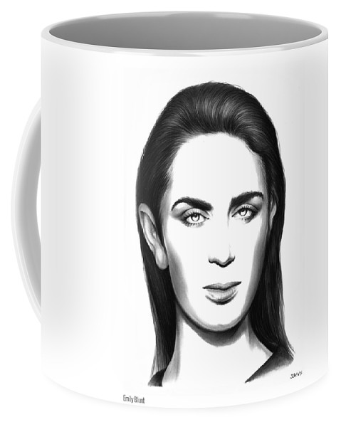 Emily Blunt Coffee Mug featuring the drawing Emily Blunt by Greg Joens