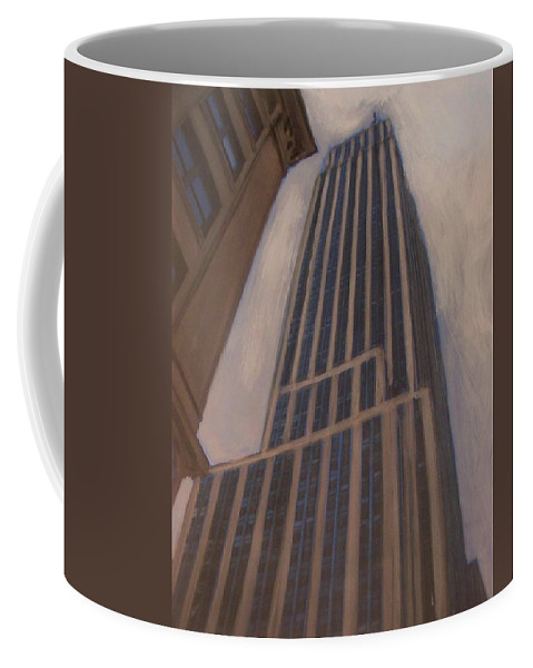 Empire State Building Coffee Mug featuring the mixed media Empire State Building 1 by Anita Burgermeister
